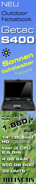 Robustes Laptop Outdoor Notebook mit sonnenlicht-lesbaren Display, Typ Getac S400